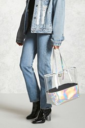 Forever 21 Iridescent Clear Tote Bag Silver Multi