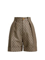 Gucci Gg High Rise Cotton And Wool Blend Shorts Beige Multi
