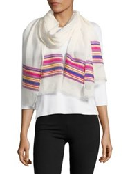 Design Lab Lord And Taylor Mixed Stripe Oblong Scarf Cream