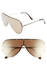 Leith 65Mm Studded Shield Sunglasses Gold Gold Gold Gold