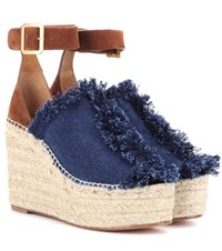 Chloe Suede And Denim Wedge Espadrilles Blue