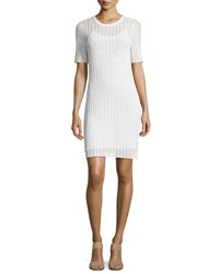A.L.C. Caspar Short Sleeve Striped Crochet Dress White