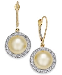 Macy's Cultured Golden South Sea Pearl 9Mm And Diamond 1 2 Ct. T.W. Drop Earrings In 14K Gold Yellow