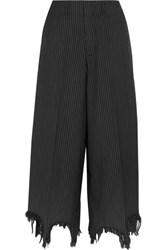 Facetasm Distressed Pinstriped Wool And Silk Blend Wide Leg Pants Black
