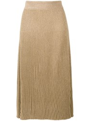Marni Ribbed Knit A Line Skirt Gold