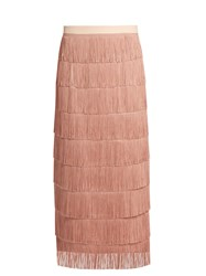 Raey Long Fringed Midi Pencil Skirt Nude