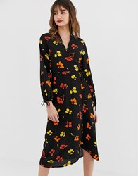 Warehouse Midi Wrap Dress In Floral Multi