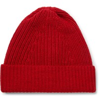 The Workers Club Ribbed Merino Wool Beanie Red