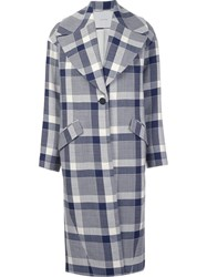 Adam By Adam Lippes Macro Check Coat Blue