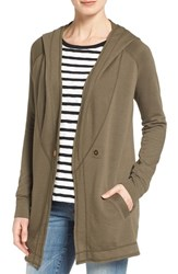 Caslonr Petite Women's Caslon Raw Edge Hooded Knit Jacket Olive Tarmac