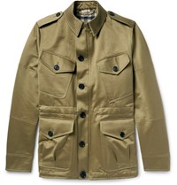 Burberry Cotton Satin Twill Field Jacket With Detachable Wool Blend Liner Army Green