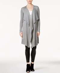 Kensie Open Front Waterfall Cardigan Heather Grey
