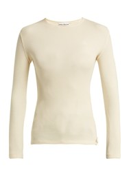 Paco Rabanne Ribbed Knit Wool Blend Sweater Cream