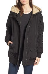 Andrew Marc New York Women's Nina Hooded Jacket With Faux Fur Trim Black