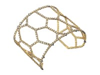 Alexis Bittar Crystal Encrusted Honeycomb Cuff W Spike Accent Bracelet Ruthenium W 14K Gold