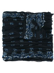 Saint Laurent Paisley Print Scarf Blue