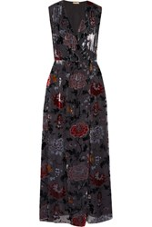 Adam By Adam Lippes Wrap Effect Floral Print Devore Chiffon Maxi Dress Black
