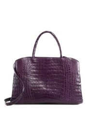 Nancy Gonzalez Large Crocadile Zip Tote Green Cognac Black Dark Purple