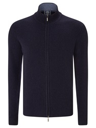 John Lewis Made In Italy Merino Cashmere Zip Through Jumper Navy