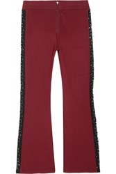 Ganni Rogers Cropped Lace Trimmed Stretch Jersey Flared Pants Claret