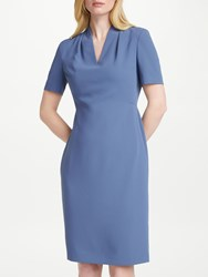 John Lewis Lily Pleat Fitted Dress Blue