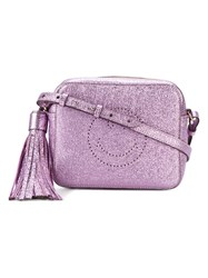 Anya Hindmarch Metallic Purple Smiley Cross Body Bag Women Leather One Size Pink Purple