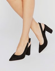 New Look Sling Back Block Heeled Shoe Black