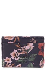 Men's Herschel Supply Co. 'Charlie' Leather Card Holder Brown Hawaiian Camo Leather