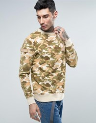 Dxpe Chef Sweatshirt In Beige With Military Patches Beige