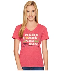 Life Is Good Here Comes Sun Cool Vee Pop Pink Women's T Shirt