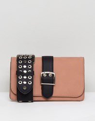 Lavand Across Body Bag With Studded Cut Out Strap Tan Black