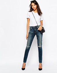 A Gold E Sophie Low Waist Skinny Jean With Ripped Knee Blue