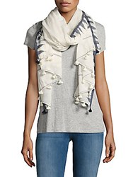 Chan Luu Tassel Fringed Cotton Scarf Natural