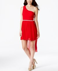 City Triangles Juniors' Embellished One Shoulder High Low Dress Cherry