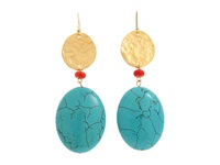 Kenneth Jay Lane 1557Ert Turq Gold Coral Earring Blue