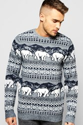 Boohoo Christmas Polar Bear Fairisle Jumper Navy