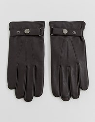 Peter Werth Leather Gloves With Popper In Brown