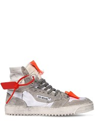 Off White Court Mix Leather High Top Sneakers White