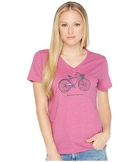 Life Is Good Mobile Device Bike Cool Vee Tee Sassy Magenta T Shirt Burgundy