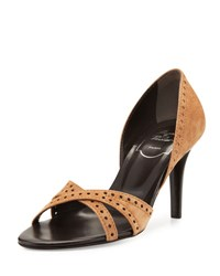 Roger Vivier Perforated Suede Open Toe Pump Cuoio
