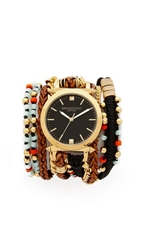 Sara Designs Beaded And Chain Wrap Watch Multi Gold