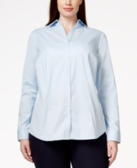 Charter Club Plus Size Button Down Blouse Only At Macy's Blue Allure