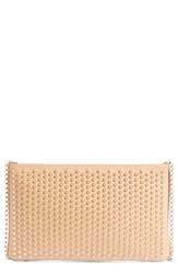 Christian Louboutin 'Loubiposh' Spiked Calfskin Shoulder Bag Beige Nude Gold