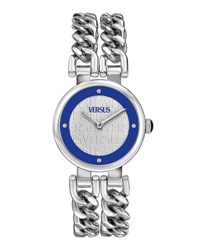 Versus By Versace Berlin Round Bracelet Watch Silver Blue