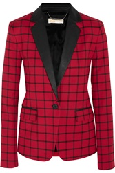 Michael Michael Kors Faux Leather Trimmed Checked Poplin Blazer Red