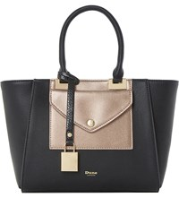 Dune Deanne Faux Leather Winged Tote Black Plain Synthetic