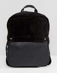 Park Lane Suede Backpack With Contrast Panel Black