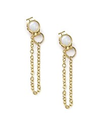 Zoe Chicco 14K Yellow Gold Draped Chain And Opal Stud Earrings White Gold