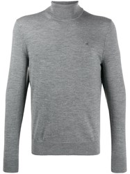 Calvin Klein Embroidered Logo Turtleneck Jumper Grey