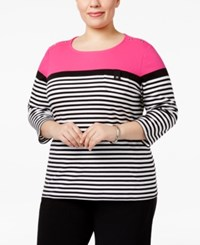 Karen Scott Plus Size Striped Top Only At Macy's Wild Punch